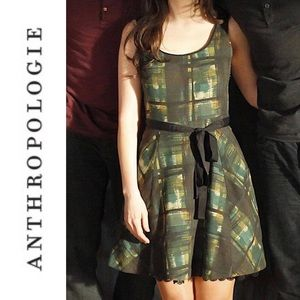 Anthro Maeve Painted Green Plaid Fit Flare Dress 0